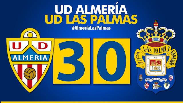 Marcador final UD Almería 3-0 UD Las Palmas