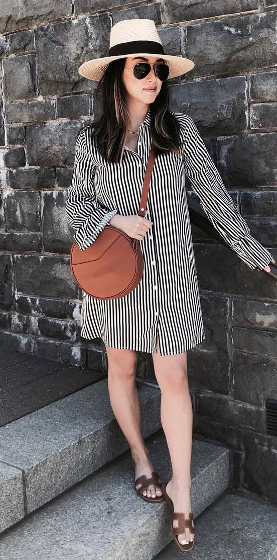 how to style a striped shirt dress : hat + brown bag + slides