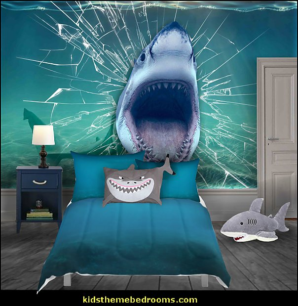 shark wallpaper mural Shark Bedrooms - shark murals - shark bedding  - Shark Decor - shark wall decals - shark theme bedroom decorating ideas - surf shack bedrooms - nautical bedrooms - 3d shark wall decorations - surfing theme bedrooms  - shark gifts - shark wall sculptures -  shark blankets - shark slippers