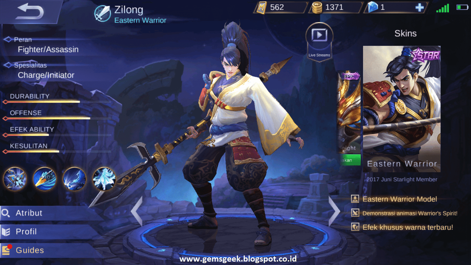 Yun Zhao Zilong Mobile Legends Son Of The Great Dragon
