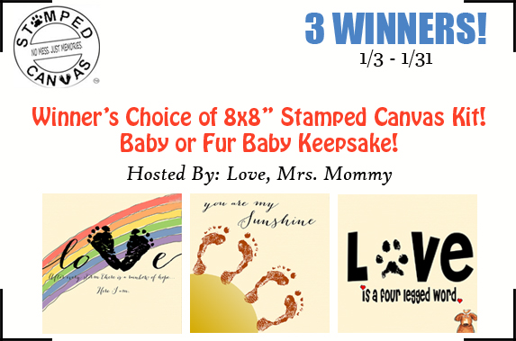 Stamped Canvas Baby & Pet Prints Keepsake Giveaway! 3 Winners! Ends 1/31