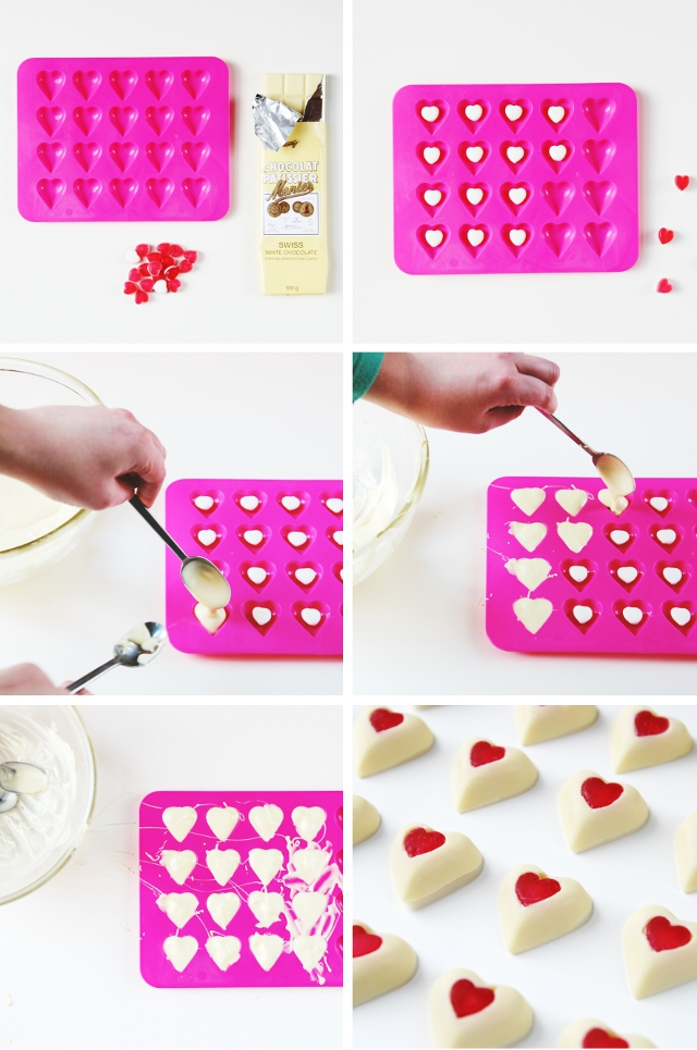 Make your own Valentine's Day White Chocolate Hearts With Jelly Sweet Centers.