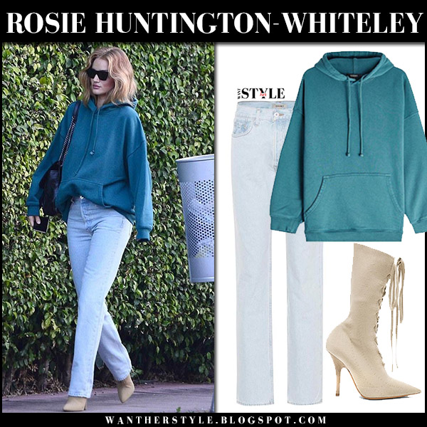 Rosie Huntington-Whiteley in teal green hoodie, straight jeans and beige boots model street style january 7