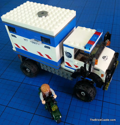 Jurassic World LEGO mobile vet unit and motorbike