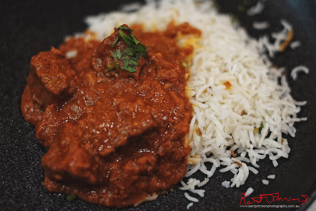 A serving of Beef Vindaloo at Spice Theory Restaurant. Photography by Kent Johnson for Street Fashion Sydney.