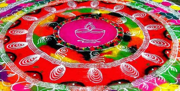 rangoli design with flowers