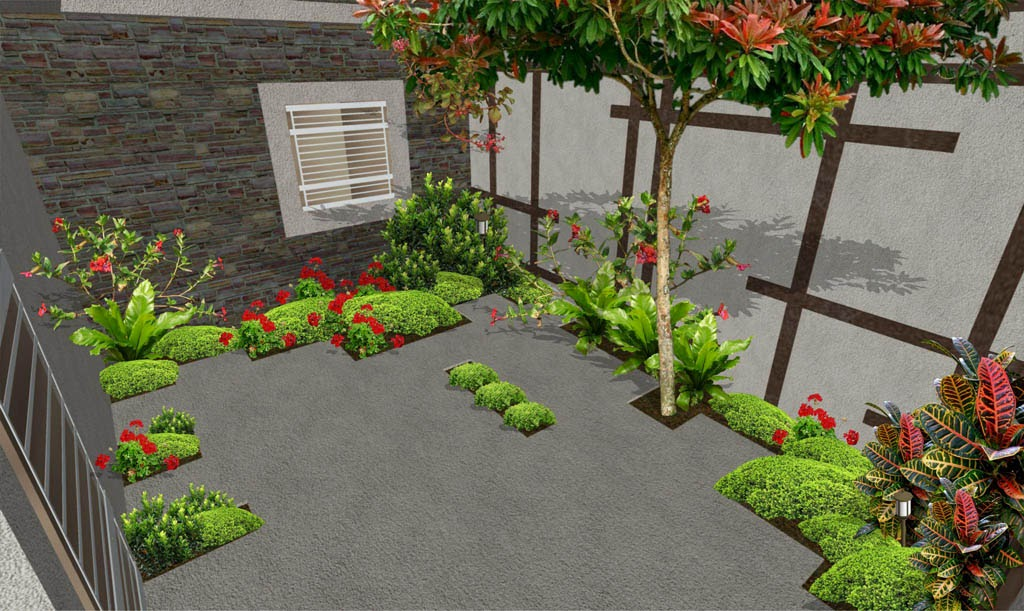 Dise os 3d imagenes renders de jardines virtuales y for Decorar patio economico