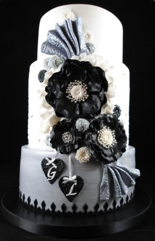 Black And White Living Room Decor: Amazing Black And White Wedding Cakes [40 Pic]