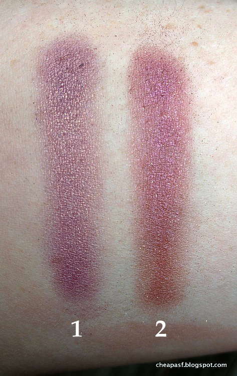 Swatches of (1) Laura Mercier African Violet, and (2) purple from Paula's Choice Four Mattes and a Glam.