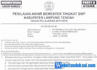 Naskah Soal PAS/ UAS PAI Kelas 8 K13 Tahun 2018/2019