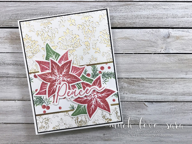 This handmade Christmas card gleams and sparkles with the addition of gold heat embossing, gold mirror paper, and DIY sparkle embossing powder.  Featuring Fun Stampers Journey Christmas Cheer Prints, Poinsettia Burst Stamps, Holiday Script Stamps, and Brocade Imprints Embossing Folder.  To order, visit: funstampersjourney.com/muchlovesara