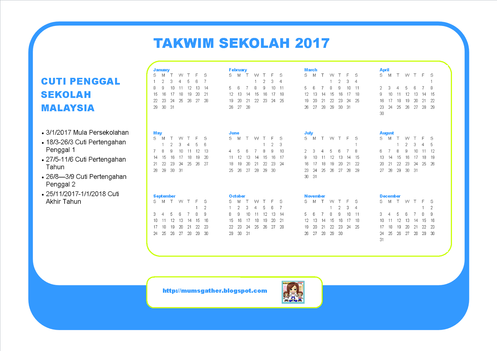 the malaysia school holiday calendar for 2017 or the takwim sekolah 2017 is officially out above is our sample of the 2017 school calendar