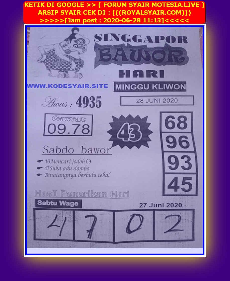 Kode syair Singapore Minggu 28 Juni 2020 74