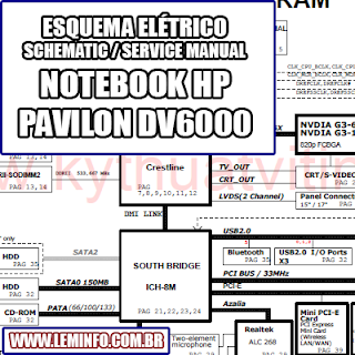 Esquema Elétrico Notebook Laptop Hp Pavilion Dv6000 Manual de Serviço  Service Manual schematic Diagram Notebook  Laptop Hp Pavilion Dv6000    Esquematico Notebook  Laptop Hp Pavilion Dv6000