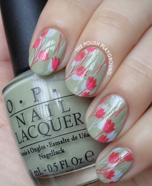 White and Red Double Tulips Stamping Nail Art