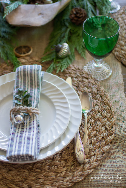 white dishes with vintage green goblets