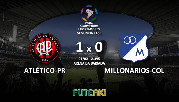 Veja o resumo da partida com os gols e os melhores momentos de Atlético-PR 1x0 Millonarios-COL pela Segunda Fase da Libertadores 2017.