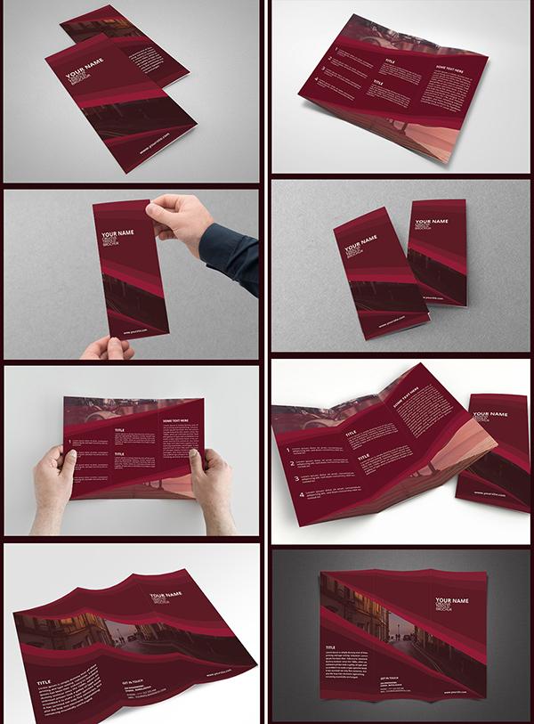 Download Gratis Mockup Majalah, Brosur, Buku, Cover - Creative Trifold Brochure PSD