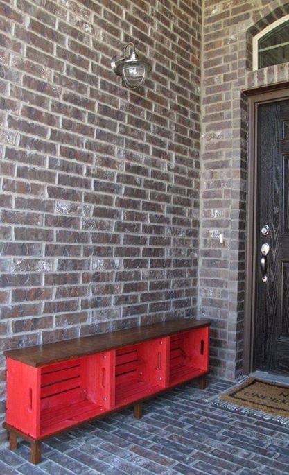 aparador vermelho reutilizar caixotes de madeira