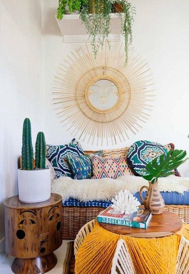 espejo sol en decoración bohemia