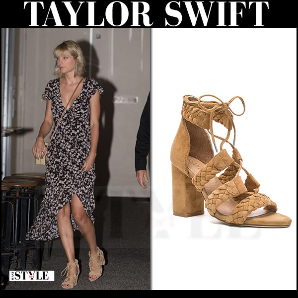 Taylor Swift in maxi dress and beige suede sandals Raye Libby what she wore
