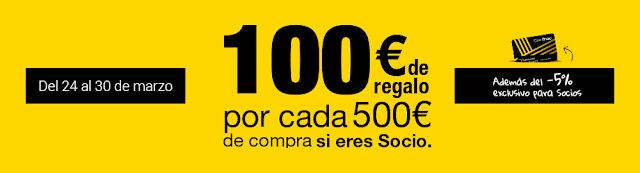 Mejores ofertas promoción 100 € de regalo por cada 500 € de compra si eres socio de Fnac