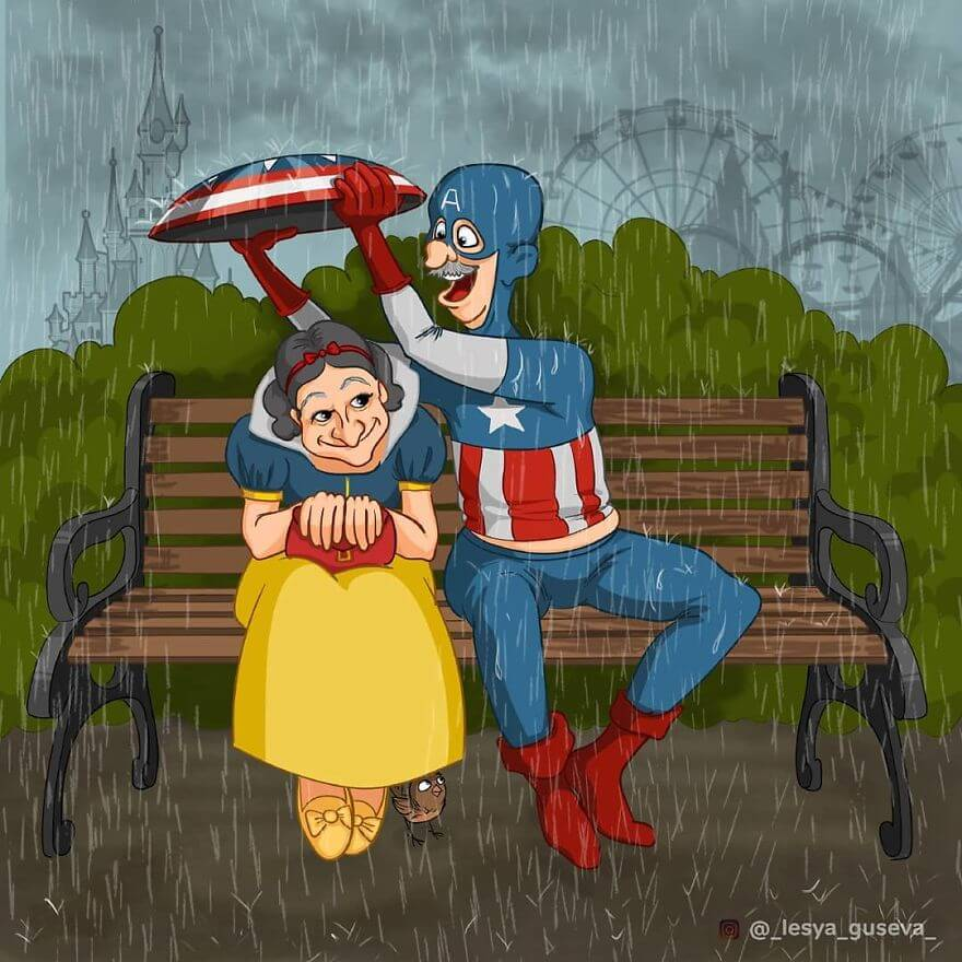 15 Beautiful Illustrations Of Popular Cartoons And Comic Characters In Old Age - Snow White And Captain America