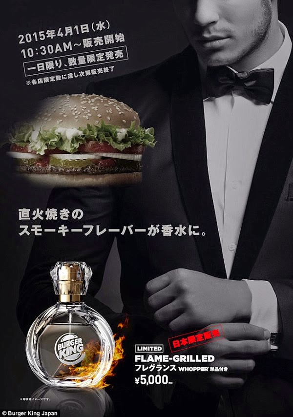"""762685545 أعلنت سلسة مطاعم """"برجر"""" الشهيرة في اليابان عزمها إطلاق عطر جديد برائحة  البرجر بداية الشهر المقبل، فيما شكك كثيرون بمصداقية الخبر، معتبرين أنه  سيكون """"كذبة ..."""