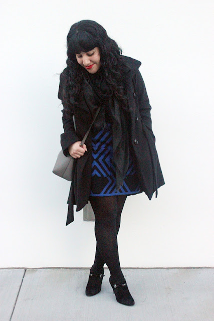 Layered Wool Dress and Coat SF Winter Office Style