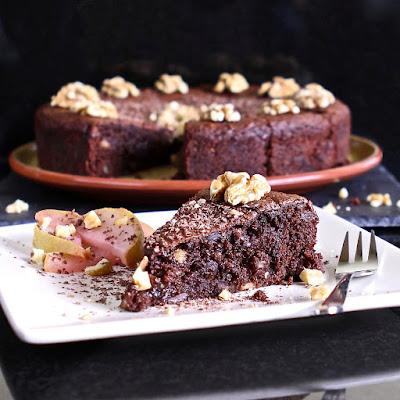 Heavenly Chocolate Walnut & Pear Torte