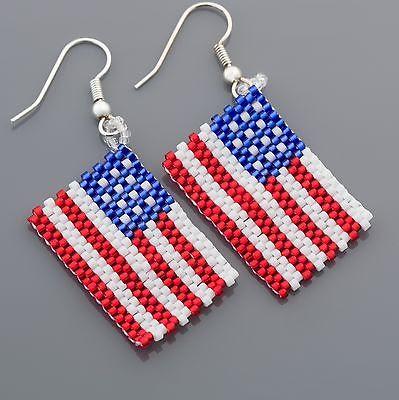 4th of July American Flag Seed Bead Earrings