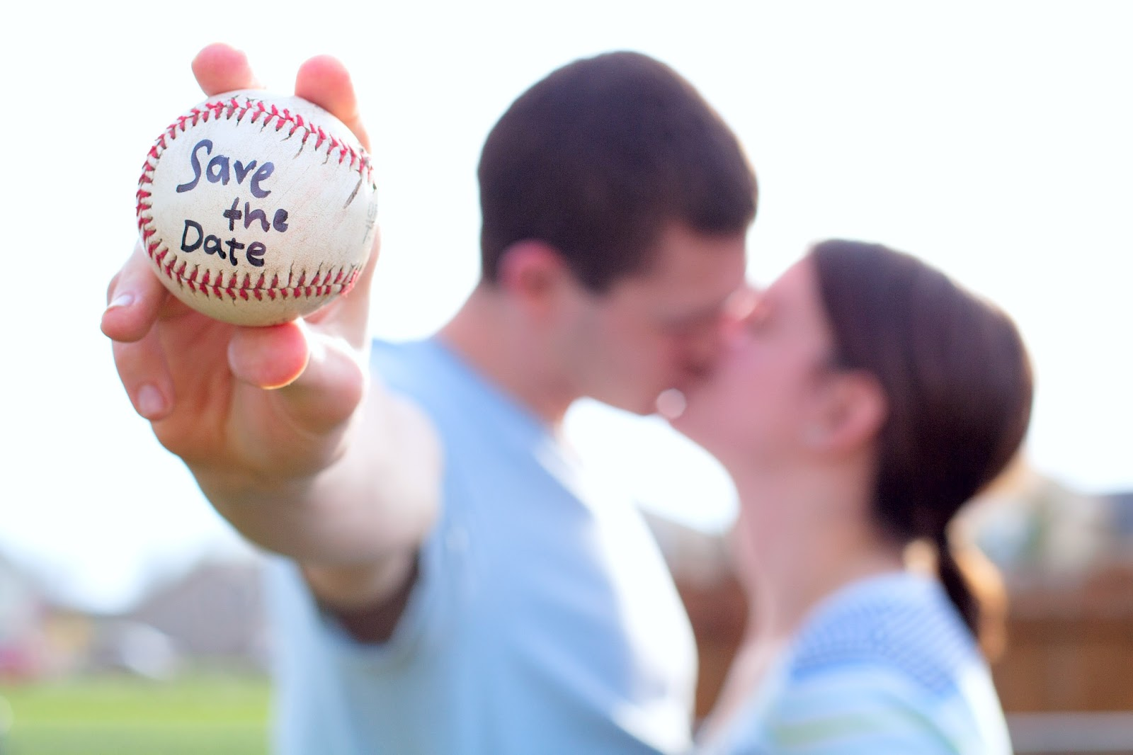 angela andrew baseball themed save the date apple wine