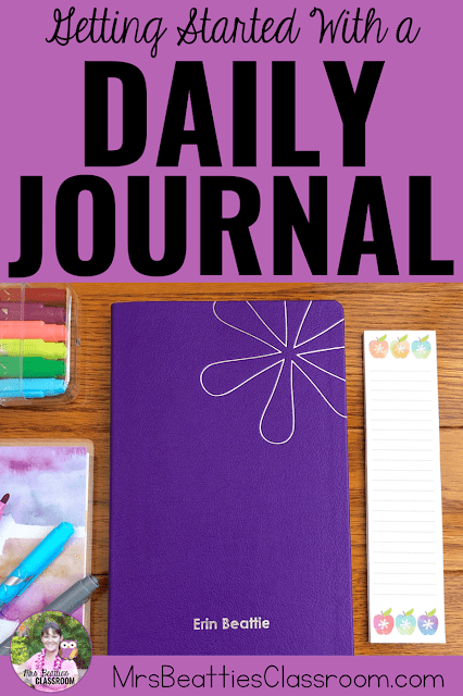 "Journal supplies with text, ""Getting Started With a Daily Journal."""