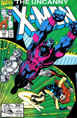 Uncanny X-Men #286, the angel bursts out