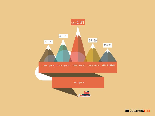 Retro Mountains with Data chart