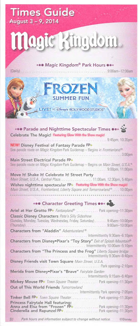 Magic Kingdom Times Guide August 2014