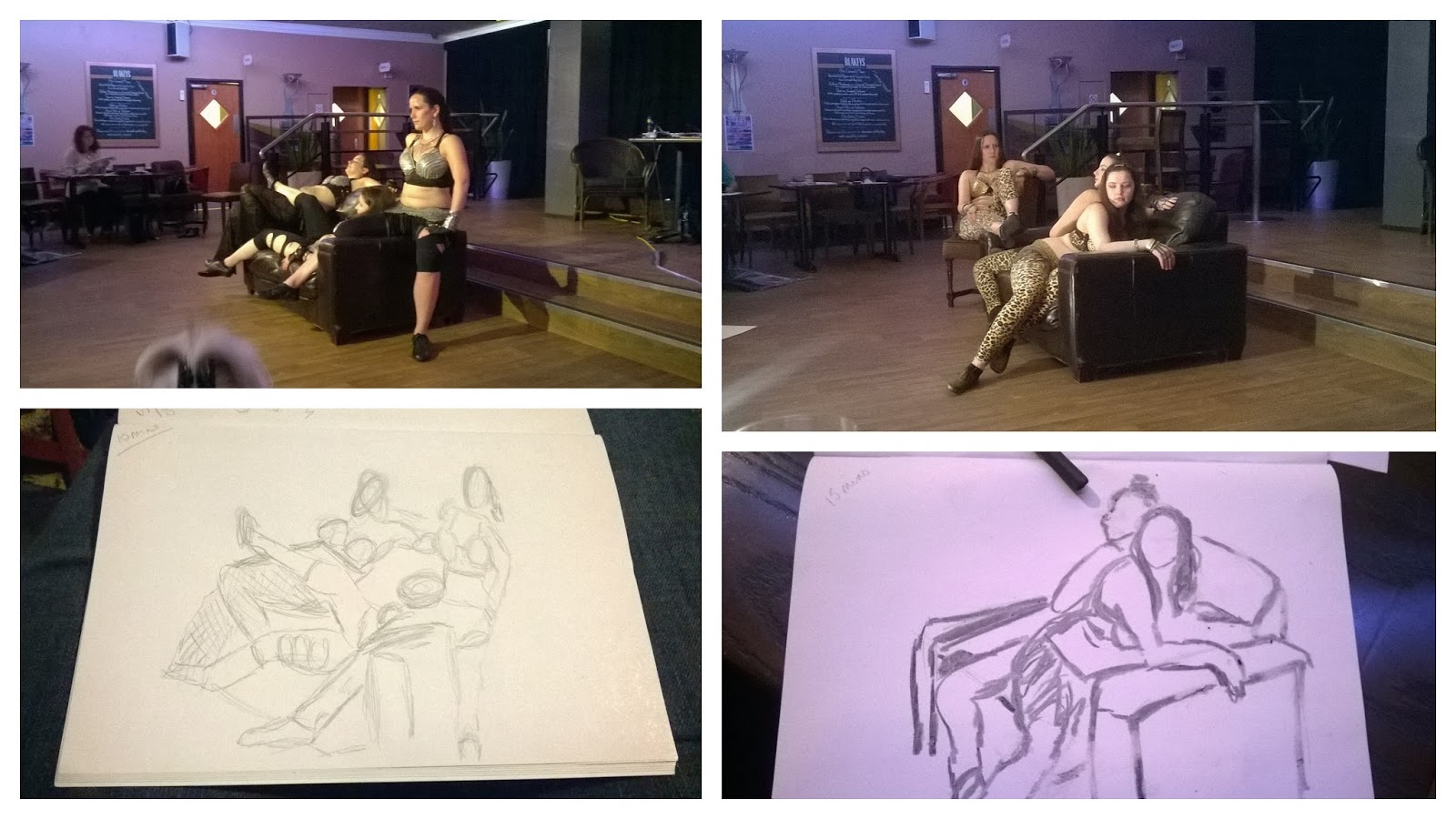 drink and draw, blackburn is open, rockit dance, charcoal, pencil