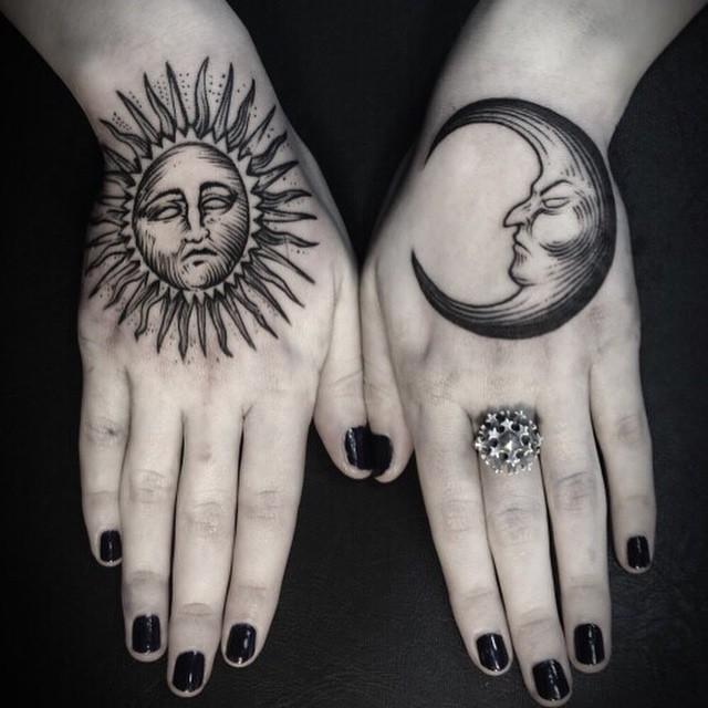 tatuajes de sol y luna para mujeres