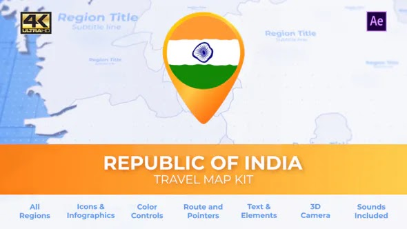 Videohive India Map – Republic of India Travel Map 28226837