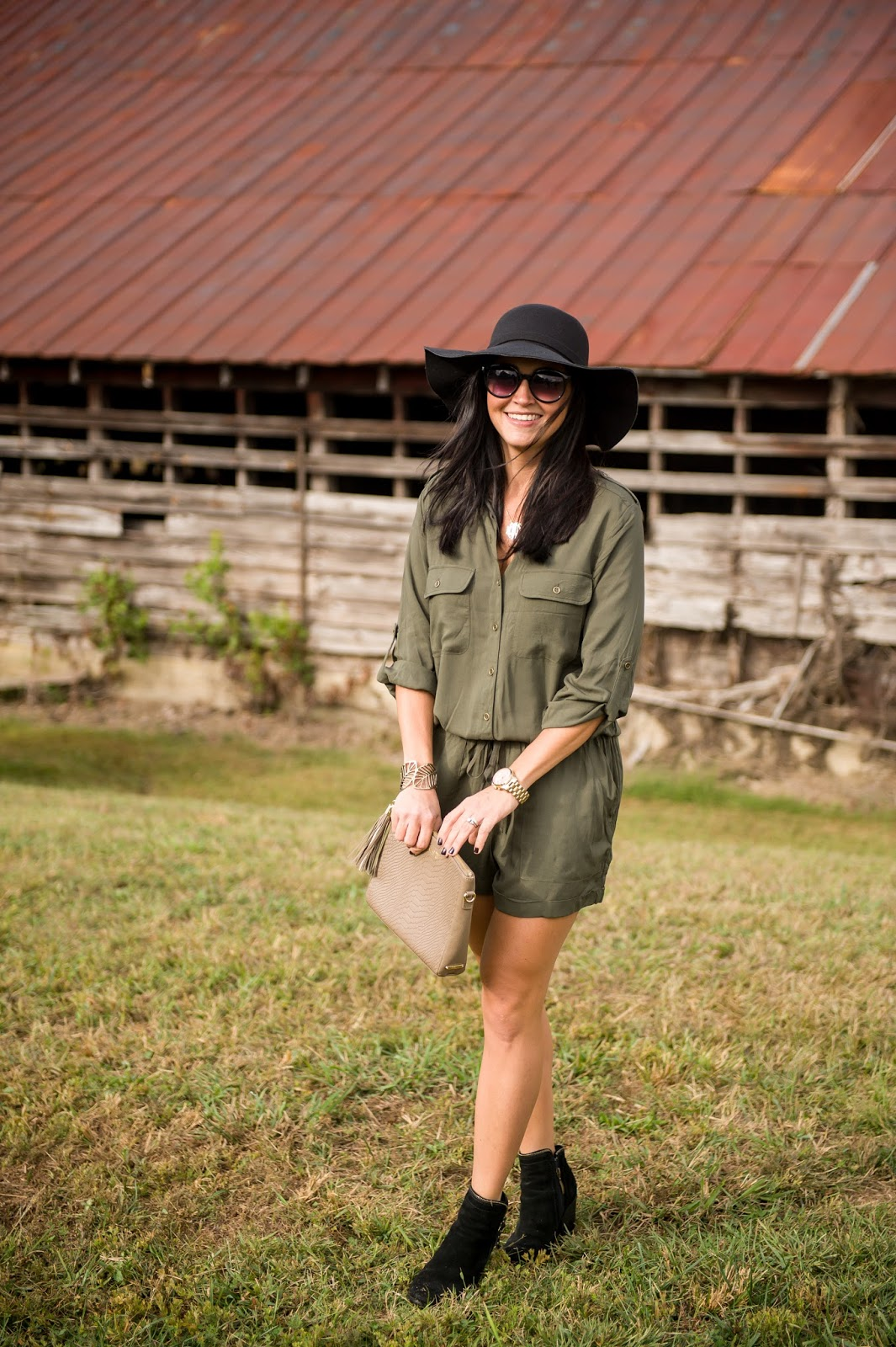 Utility Military Romper, Floppy Hat, Booties