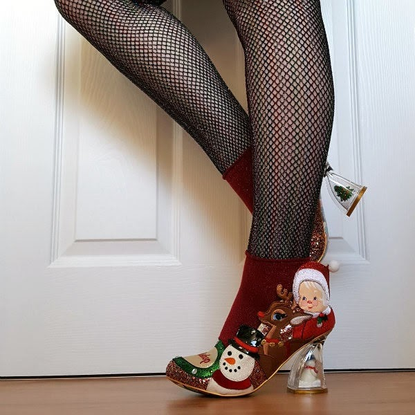 festive glitter court shoes with snowman, rudolph and mrs claus applique
