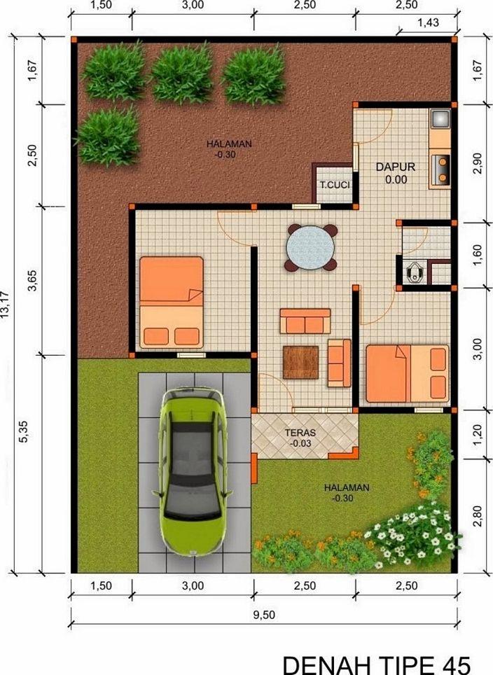 denah rumah type 45 minimalis yang bagus