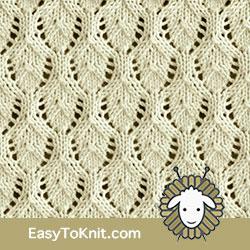 Eyelet Lace 67: Elvish Leaf | Easy to knit #knittingetitches #eyeletlace