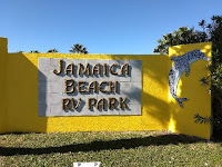 entrance sign for Jamaica Beach RV Resort