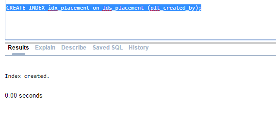 Creating Index on lds_placement table, plt_created_by column