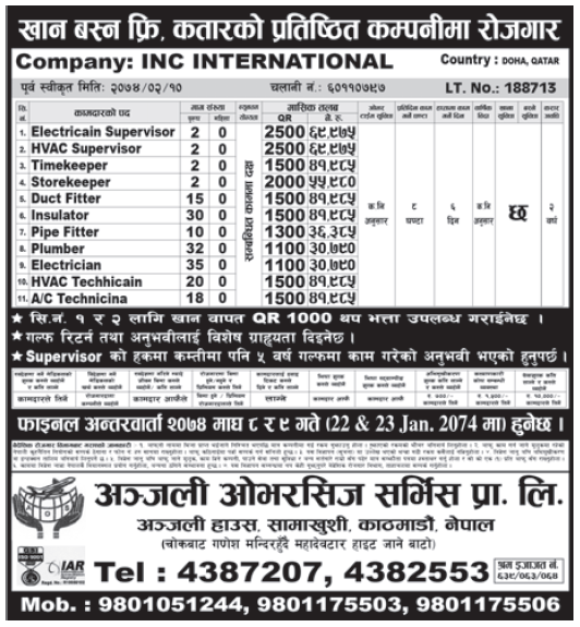 Jobs in Qatar for Nepali, Salary Rs 69,975