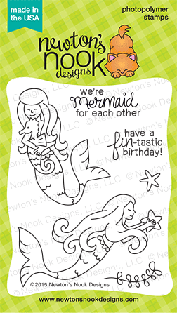 Mermaid Crossing 3x4 photopolymer stamp set | Newton's Nook Designs