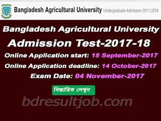 Bangladesh Agricultural University Admission Test Circular 2017-2018
