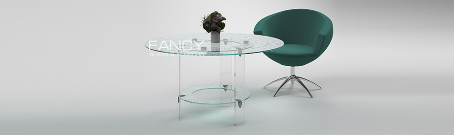 Rounded dining glass table made of crackled glass cascade
