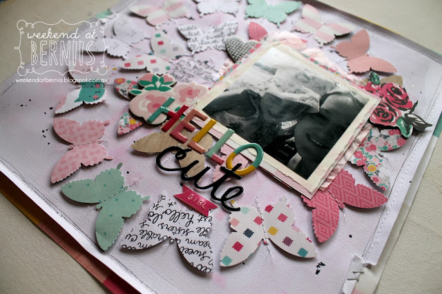 """""""Hello Cute"""" layout by Bernii Miller using the Cute Girl collection by Crate Paper."""
